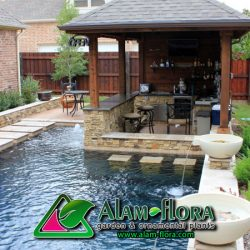 swimming-pool-with-waterfall-and-water-fountain-for-fascinating-small-backyard-using-modern-gazebo-design